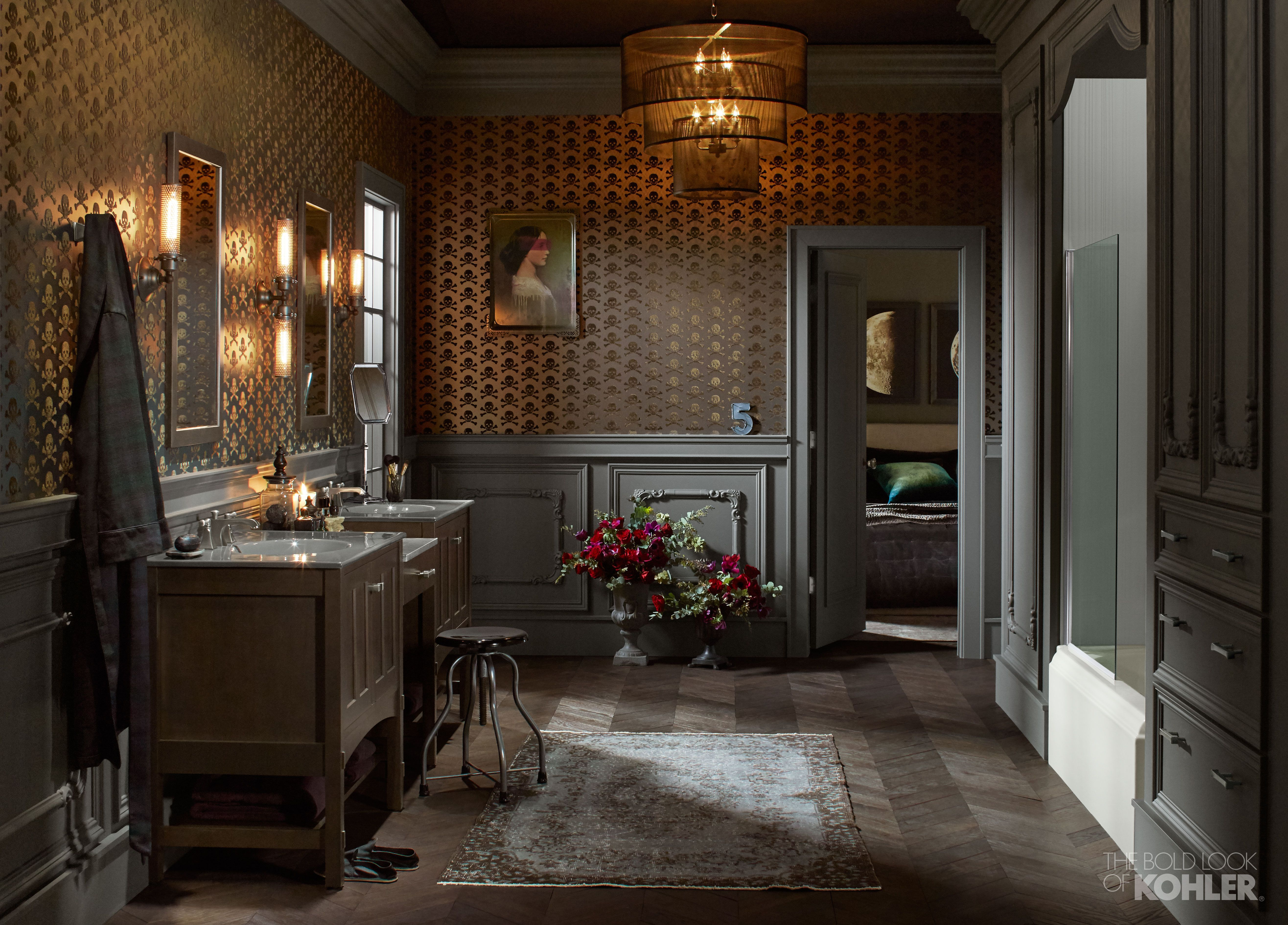 Perfect for a couple, this steampunk-style, edgy bathroom has both a shared vanity space and private showering and toilet spaces.