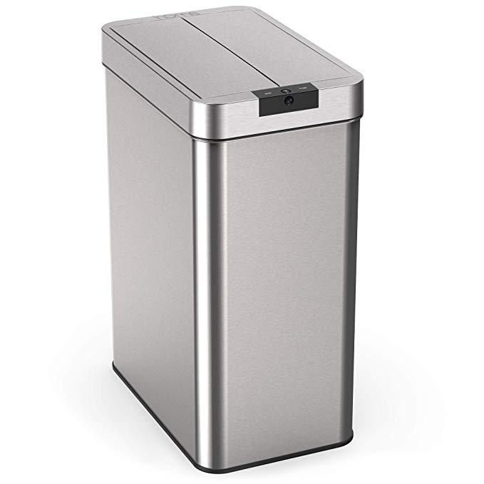 13 Gallon Touchless Trash Can Stainless Steel Base Infrared Motion Sensor Hands Free Lid Kitchen Gadgets Awesome Kitchen Trash Cans Garbage Can Trash Can 13 gallon trash can dimensions