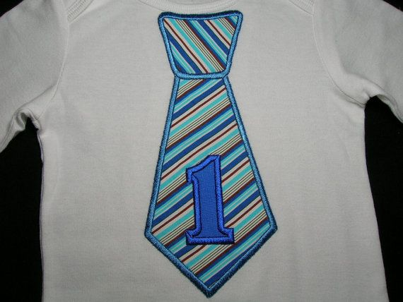 BOYS Blue Stripes First Birthday Tie Baby by PickleBeanBoutique, $17.99