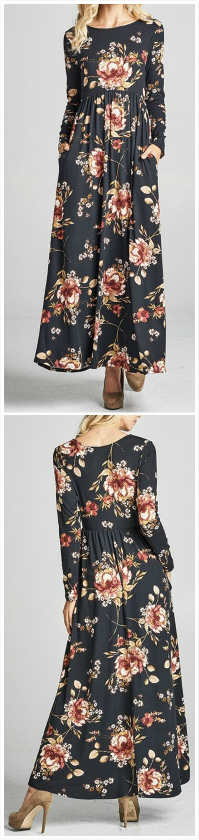 Elegant round neck long sleeve floral printed maxi dress luxury