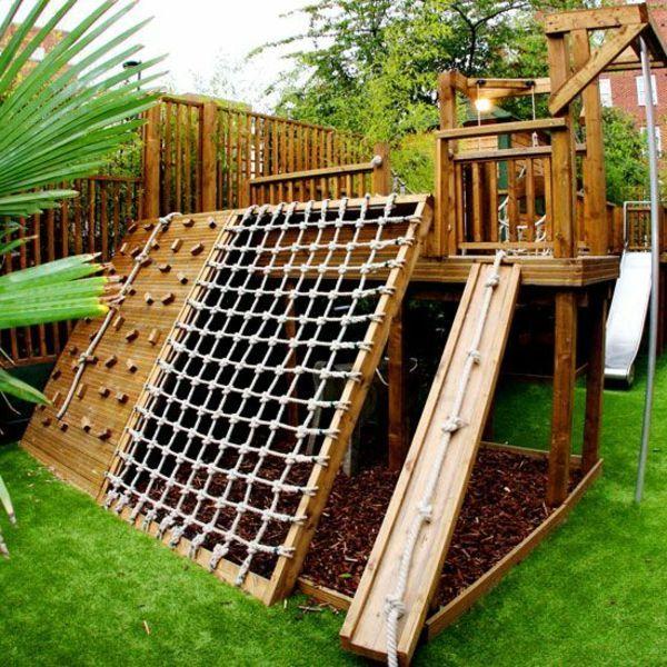 Perfect Da freuen sich nicht nur die Kinder Kletterwand im Garten