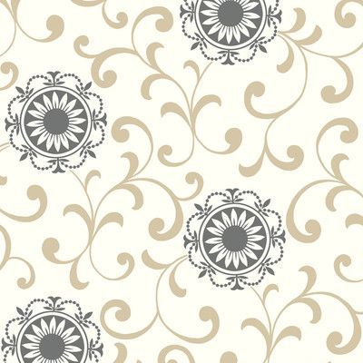 "York Wallcoverings Silhouettes Daisy 33' x 20.5"" Scroll Embossed Wallpaper Color:"