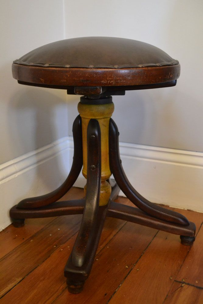 Rare Antique Bentwood Piano Stool Swivel Adjustable