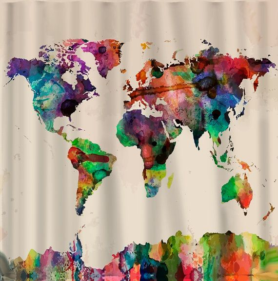 Custom Shower Curtains Watercolor World Map On Cream Natural Background