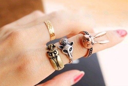 $4.45 Lot 3pcs Wholesale New Arrived Vintage Style Bronze Rabbit Owl Fox Ring Set | eBay