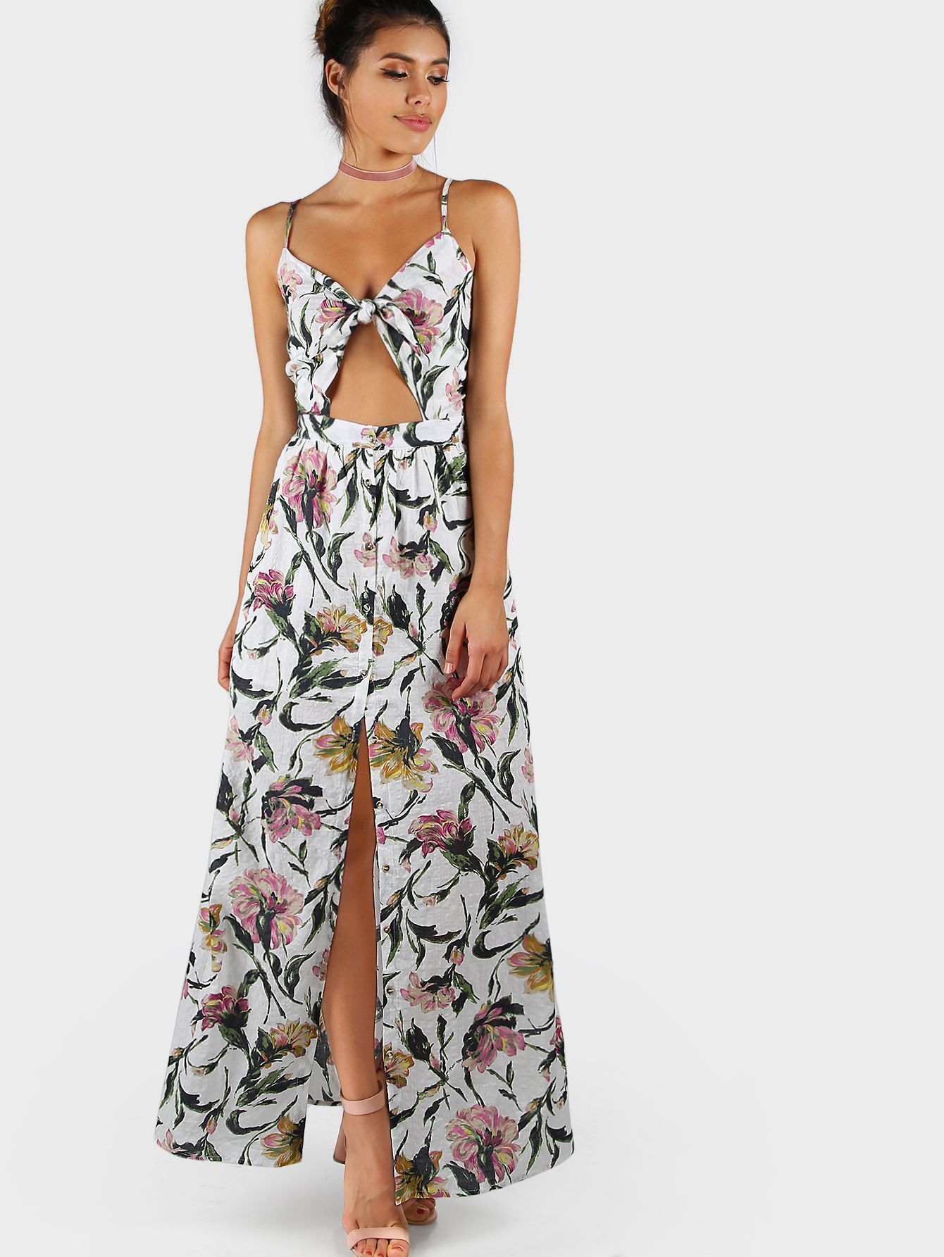 Knot front open midriff smocked back cami dress maxi dresses and