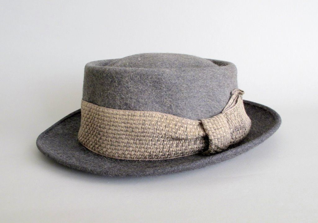 Vintage 1950s MENS Hat   50s Grey Pork Pie Fedora  6817f6496ab