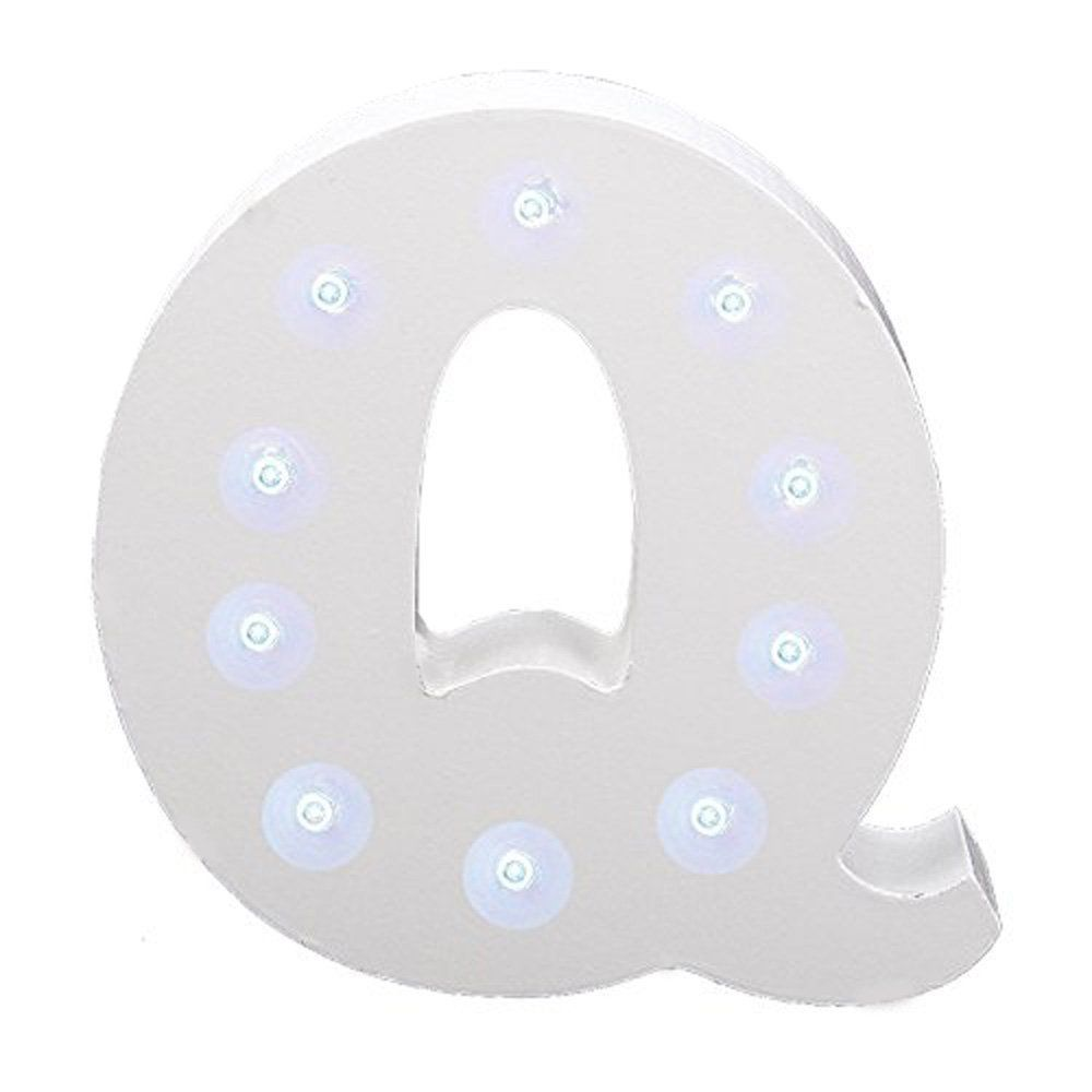 buy White Wooden LED Letter Q Lights on balloonsale.us,the 6 Inch Led Wooden  Letters free Standing for birthday ,wedding party table decoration.