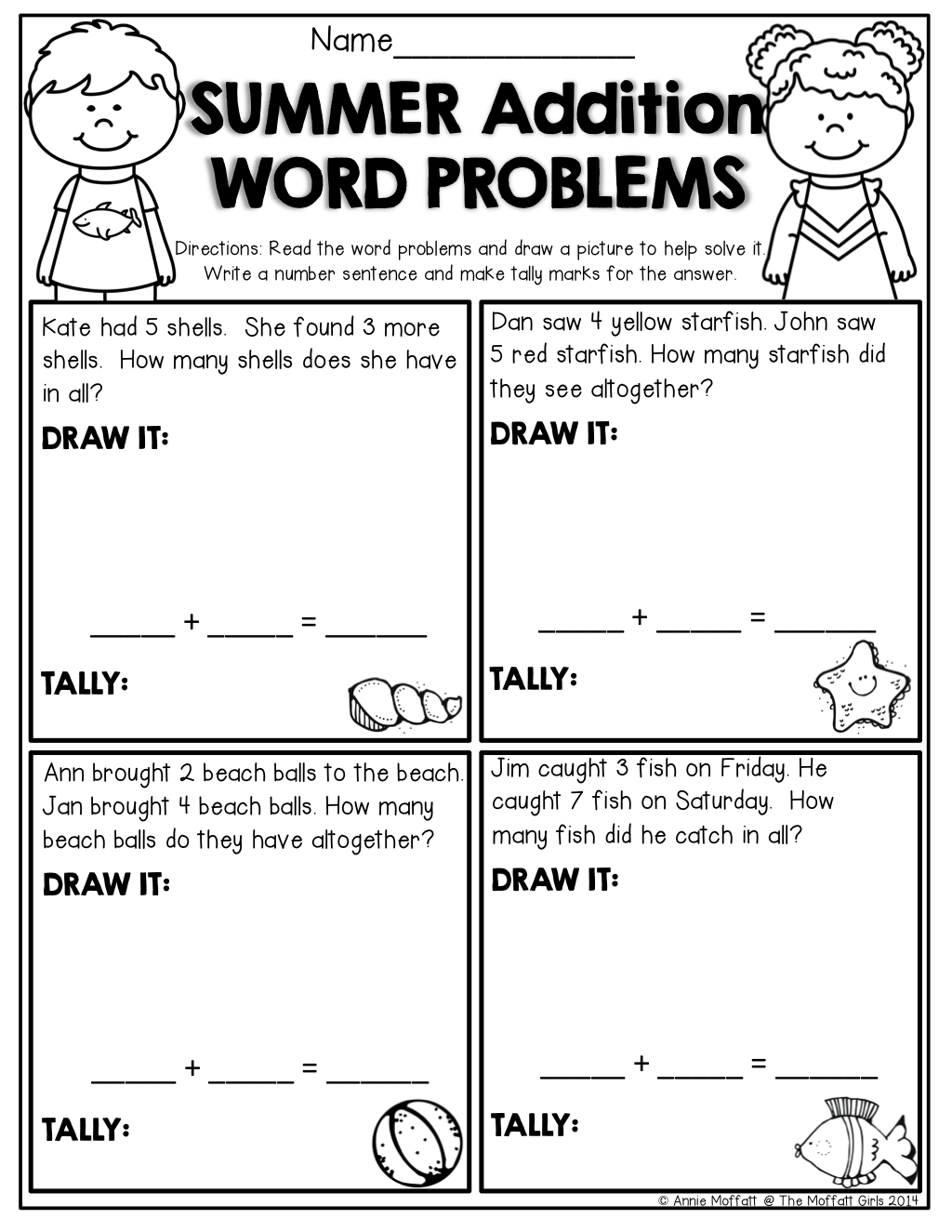 Summer Packet NO PREP Review (Kindergarten)   Word problem worksheets [ 1325 x 1024 Pixel ]