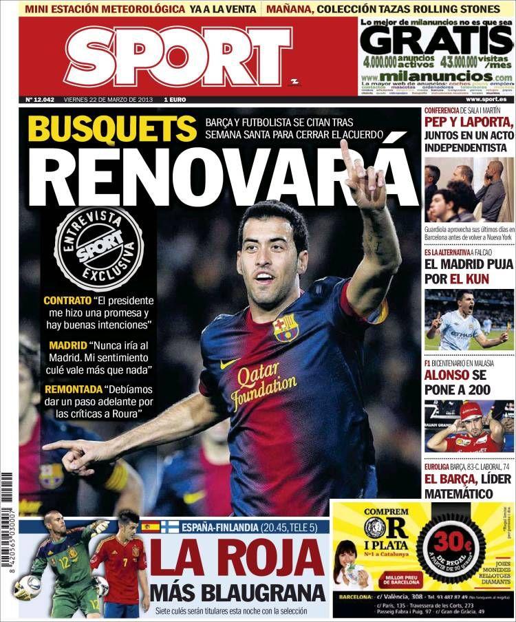 Los Titulares y Portadas de Noticias Destacadas Españolas del 22 de Marzo de 2013 del Diario Deportivo Sport ¿Que le parecio esta Portada de este Diario Español?