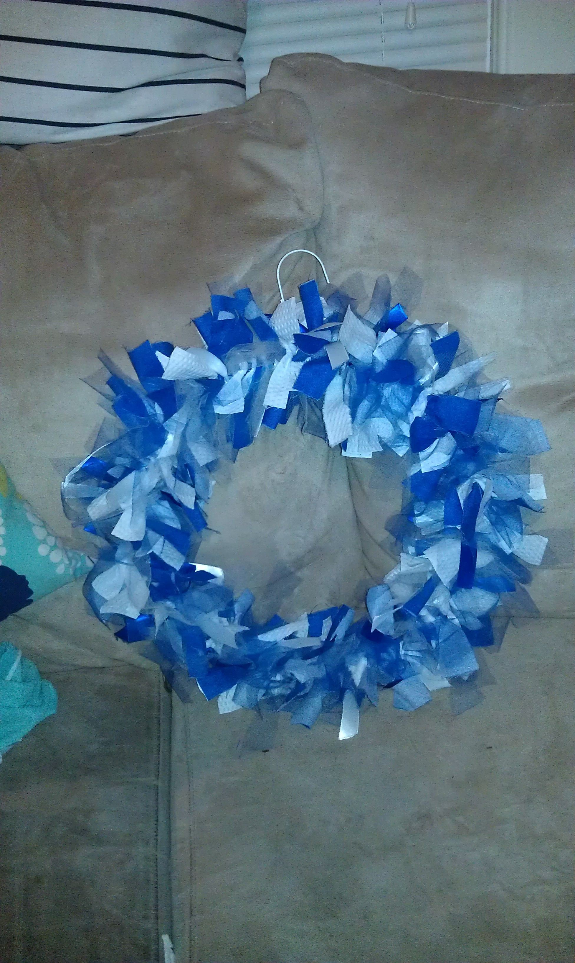 UK Wreath made from fabric, tulle, and ribbon on a wire hanger. for ...