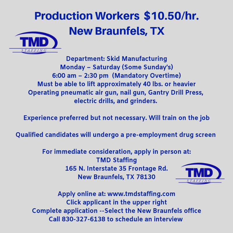 Want on the Job Training in New Braunfels, TX? Call 830-327