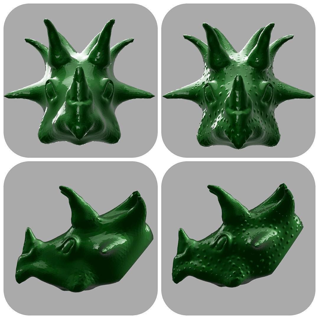 First time modeling in Sculptris! Triceratops will soon come to life! Left or Right? #3dprinting #cretaceous #jurassic #park #triceratops #3dart #sculptris #modeling #3dmodeling #sculpt #dinosaur #green #awesome #sculpture by real3ddesignz