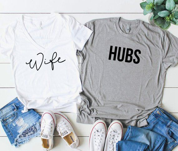 904bf245 Wife Hubs Shirts. Wife and Hubs Shirt Set. Gift For Newlyweds. Bride and  Groom Shirts. Mr and Mrs Sh