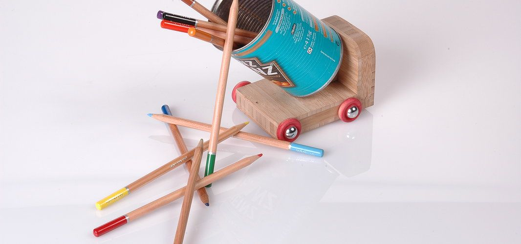 Put #fun back into #products. The #tin #trucker can be enjoyed by #children and adults alike, giving the product a longer lifespan.     This pen pot will brighten up any desk. A removable can allows you to customize to your own tastes.              Made from solid #bamboo with beech wheels. #fromgrass