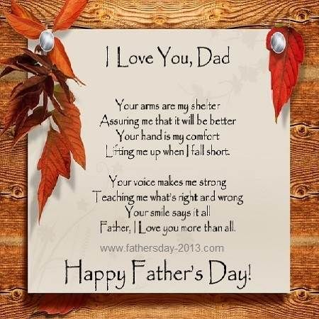 I Love You Dad Poems From Daughter   Simple Fathers Day Poems ...