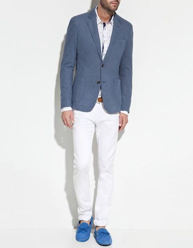 0b252948 PIQUÉ BLAZER WITH ELBOW PATCHES - Blazers - Man - ZARA United States ...