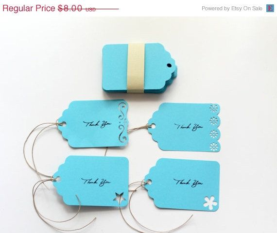 CIJ SALE Blue Thank You Tags Set of 50 Die Cut by StitchedtoaTea, $6.80