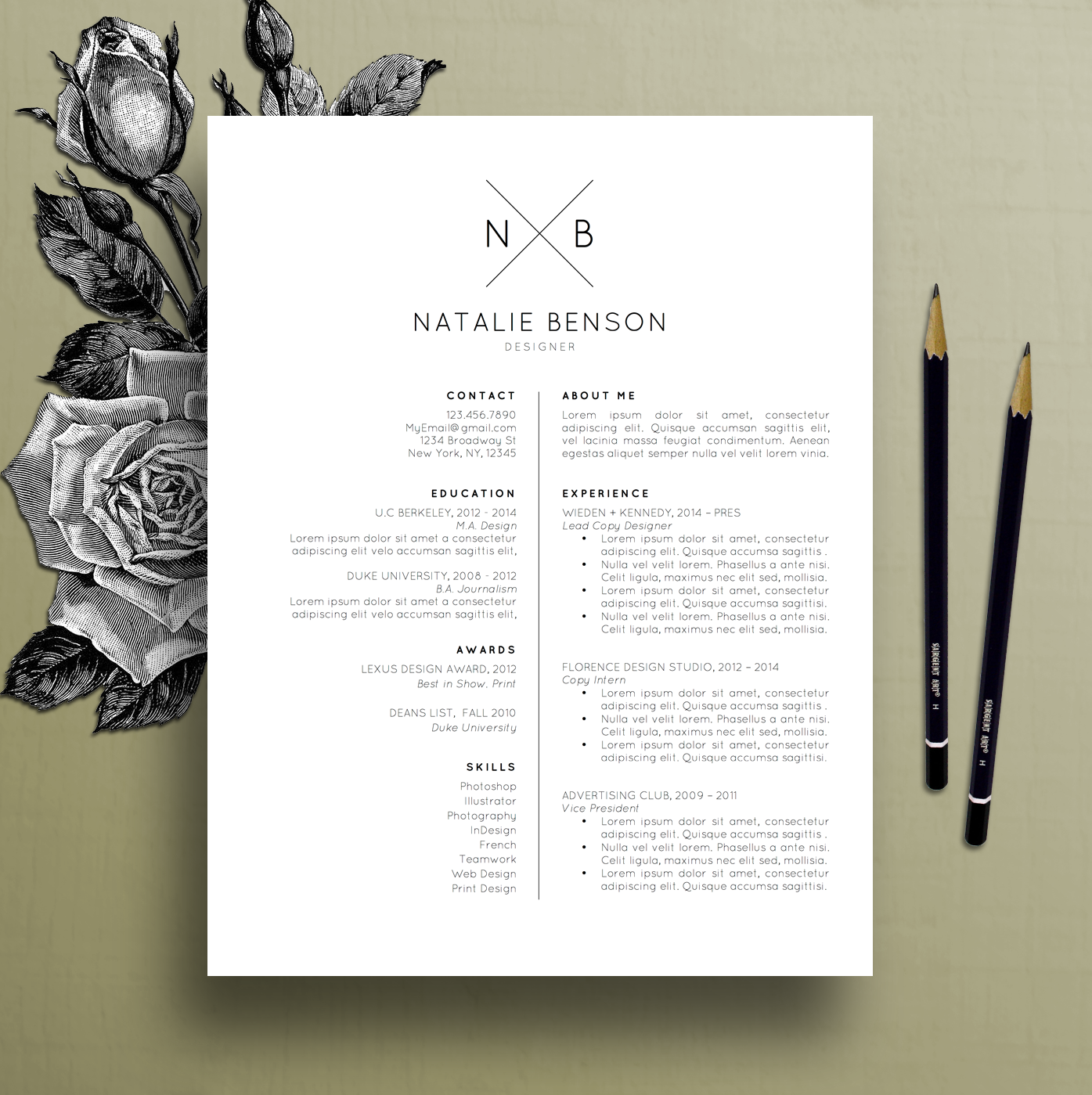 Modern Resume Template, Cover Letter Template for Word, Professional ...
