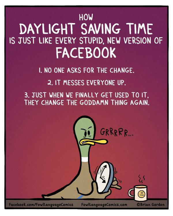 08c8a385b71c6809ce5e4df07a9670a4 how daylight saving time is like new versions of facebook fowl