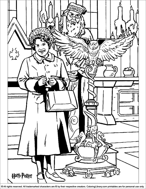 Harry potter coloring page professor dumbledore is not happy with dolores umbridge
