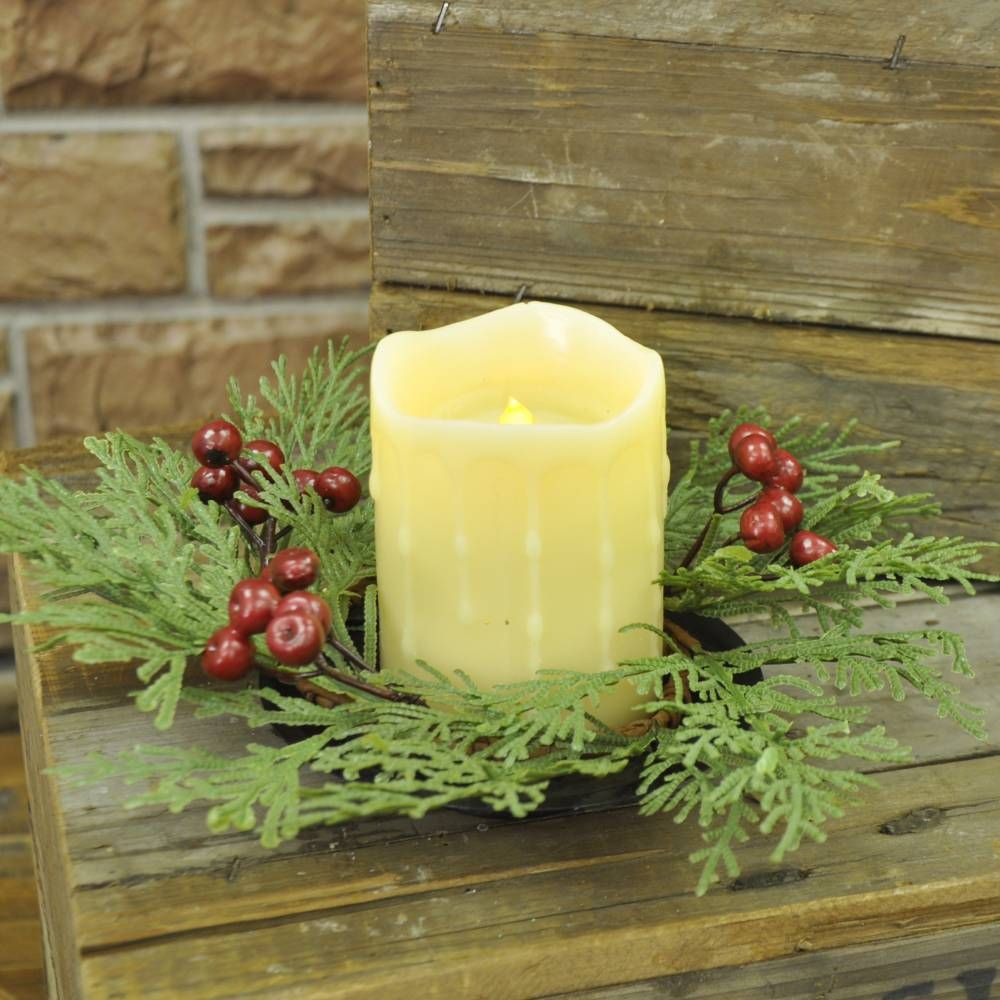 Cedar candle ring w berries farmhouse winter decor pinterest