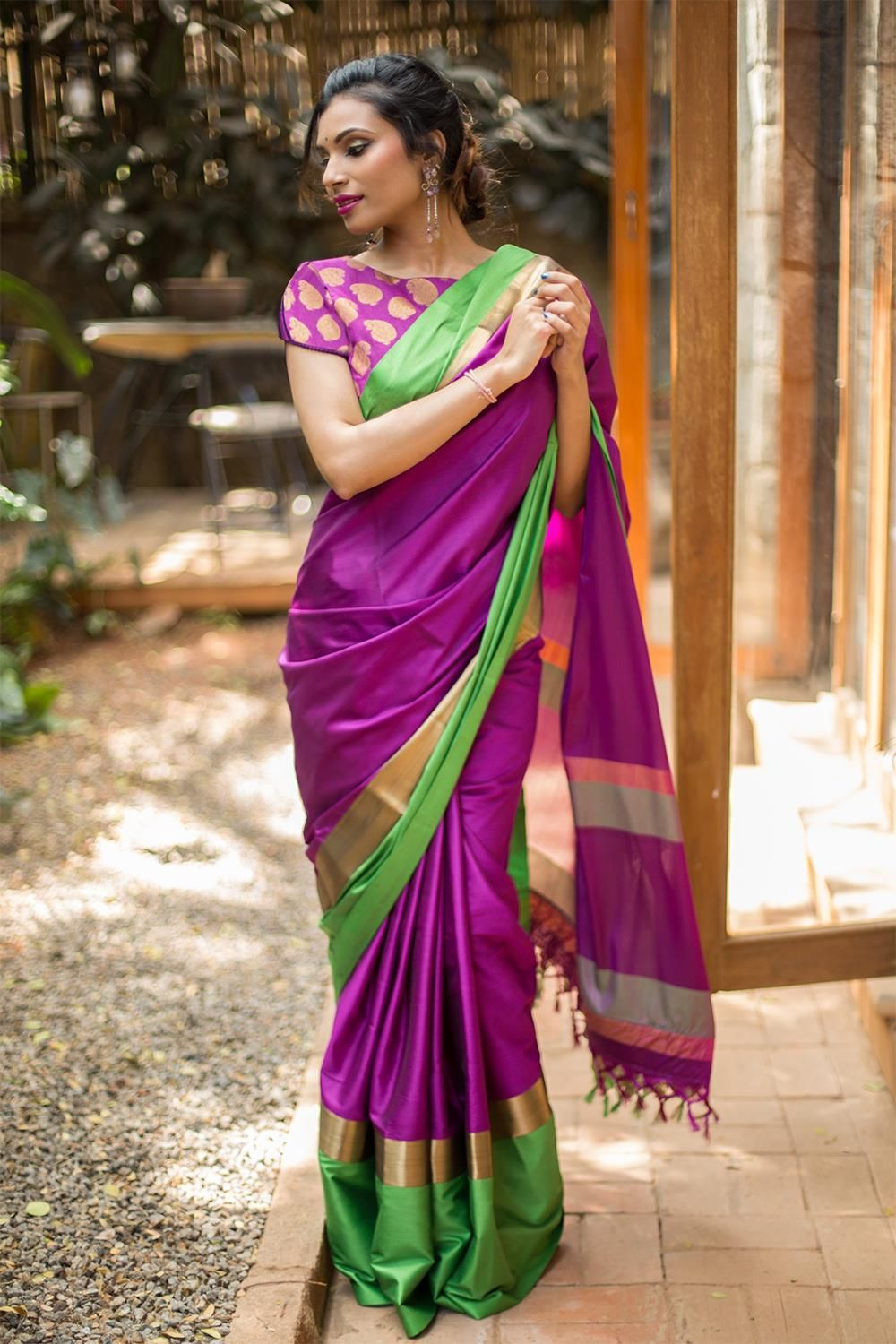 3ba6f23fcc Purple soft cotton silk saree with green and dull gold border #saree #blouse  #houseofblouse #indian #bollywood #style #ethnic #purple #green #gold #soft  # ...