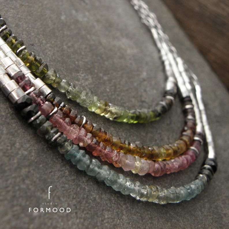 Tourmaline ombre necklace oxidized sterling silver and   Etsy