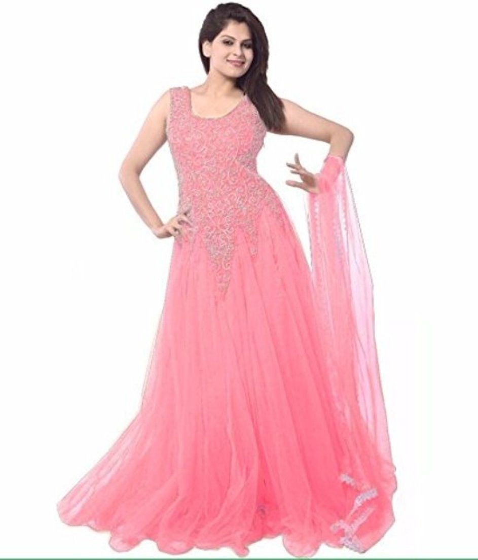 Floor Length Light Pink Colour Designer Indo Western Dress for Women ...