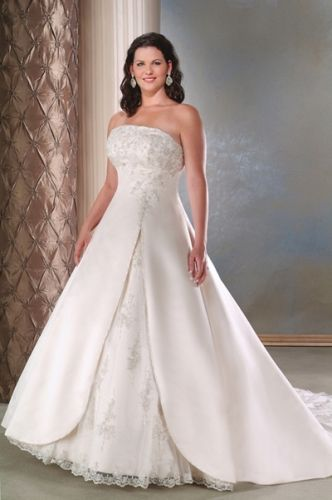 Simple Plus Wedding Dresses Named The Satin And Tulle Strapless A Line  Skirt With Elegant Slirt And Semi Cathedral Train Plus Size Wedding Dress,  I Love It.