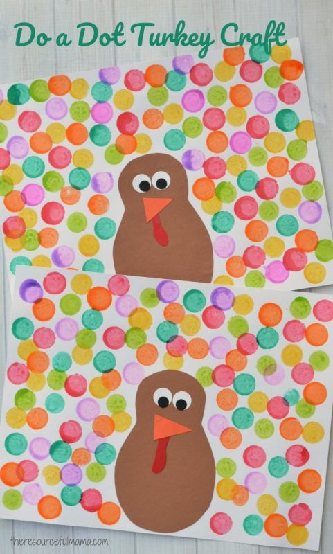 Do a dot turkey craft - Easy Thanksgiving crafts for kids - These fun crafts will keep your little ones occupied during the feast or before the holiday to prepare. #Thanksgiving #crafts #kidscrafts #Thanksgivingkidscrafts #Turkey
