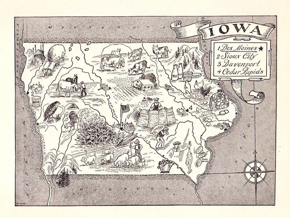 1950s Vintage IOWA Map Farming Animals People Map of Iowa State