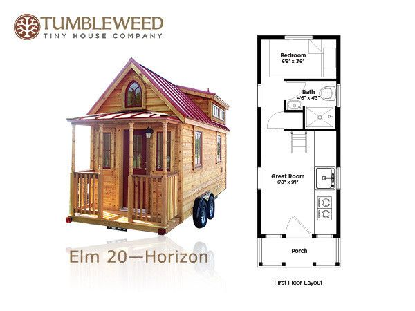 117 sq ft no loft tiny home tumbleweed elm 20 horizon - Tiny House Plans