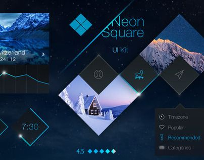 """Neon Square #UI #Kit by tintins"" http://be.net/gallery/38447113/Neon-Square-UI-Kit-by-tintins"