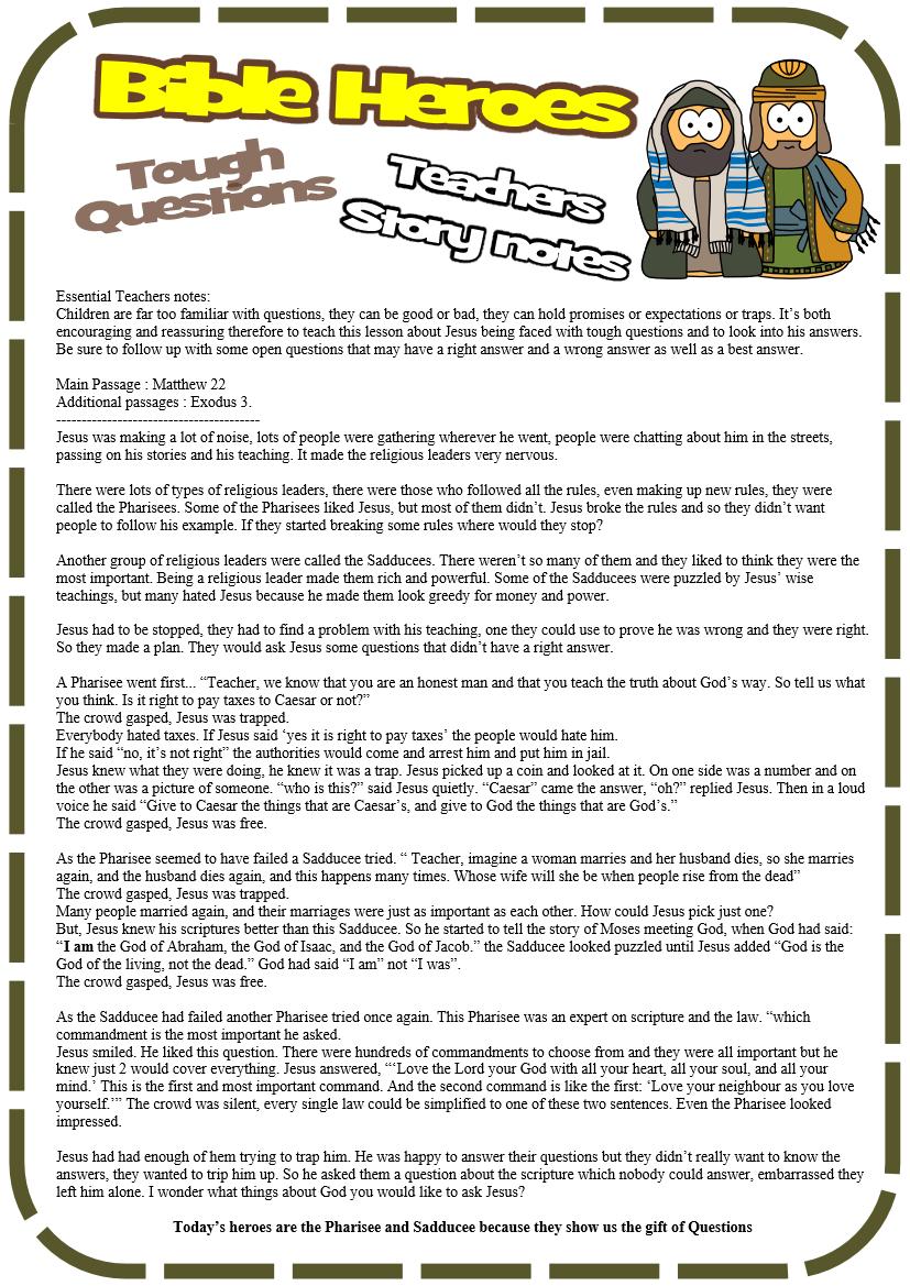 Tough Questions (Matthew 22)   Jesus-Without-Language +