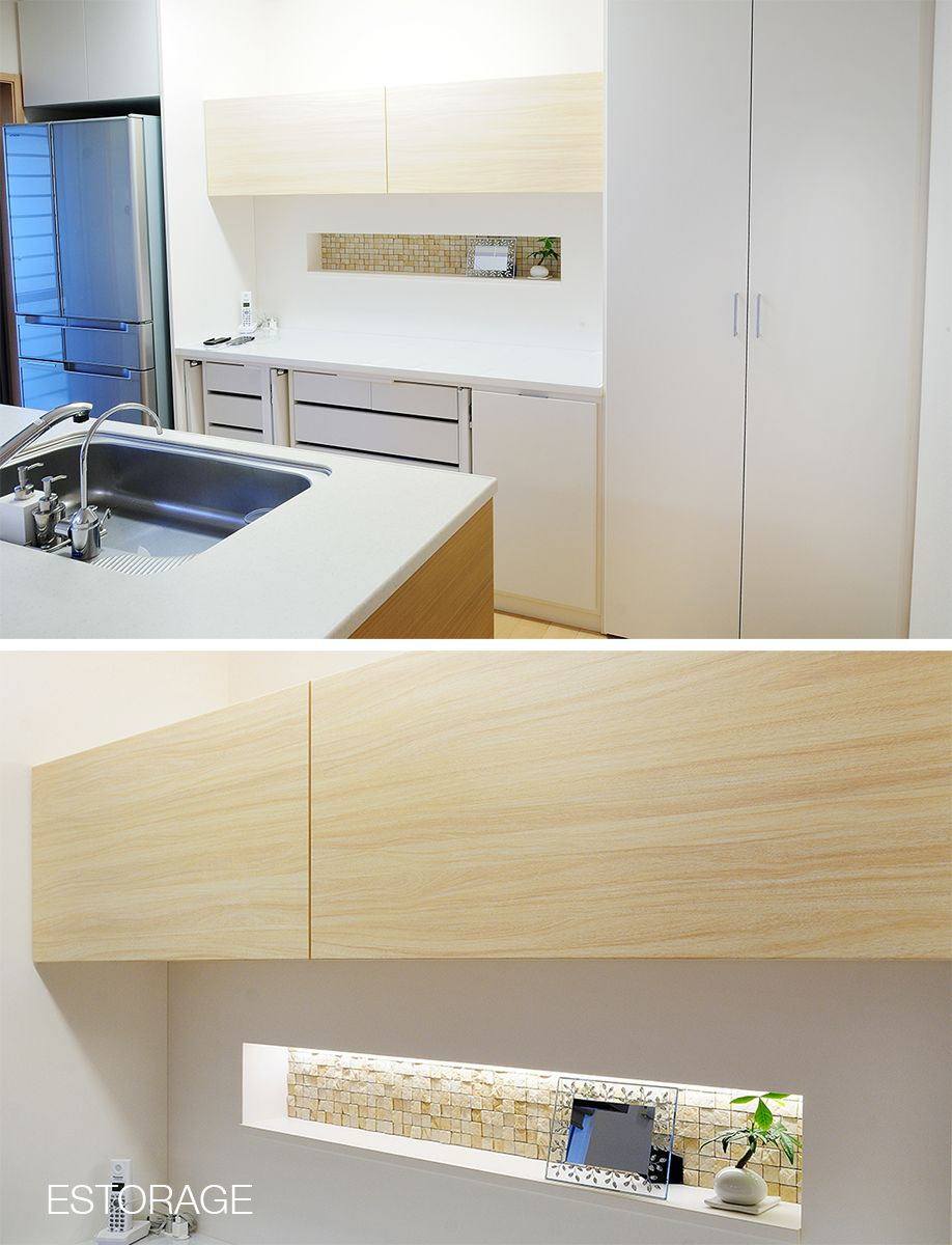 キッチン収納には珍しい モザイクタイルを貼った飾り棚を作りました