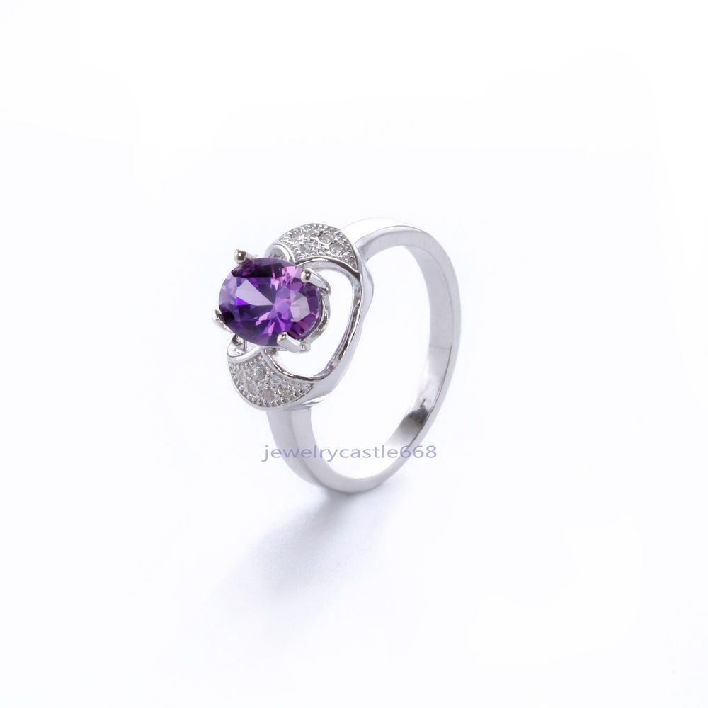 Fashion Original Purple Zircon  925 Sterling Silver Topaz Ring Wedding Ring 18K #Unbranded #Wrap #Anniversarywedding