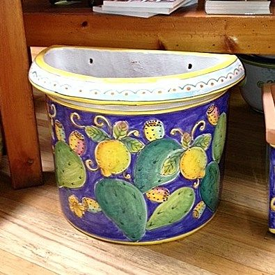 Small Flatback Planter   Lemons U0026 Cactus   Handpainted Italian Ceramic  Garden Pot