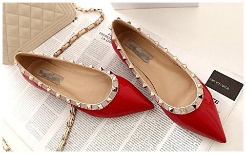 cb4fe98c478 G-Small Studded Pointed-Toe Flats in red and nude patent (Valentino  Rockstud knockoffs)