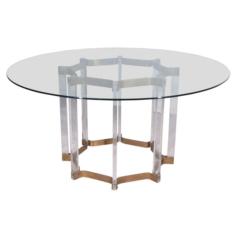 Lucite And Brass Dining Table With Glass Top