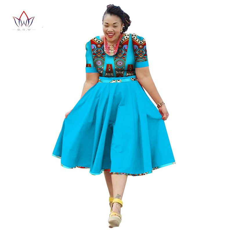 b7a18e8cf6882 Online Shop Plus Size Clothing 2018 summer Dress African Print Dress Dashiki  For Women Bazin Riche Vestidos Femme Dress Plus Size BRW WY733