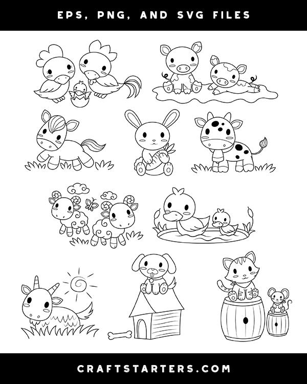 Baby Farm Animal Digital Stamps Digital Stamps Digital Stamps Free Baby Farm Animals