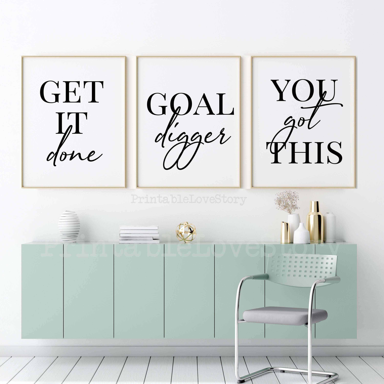 Motivational Wall Decor Printsoffice Decorgoal Etsy Motivational Wall Decor Printable Bedroom Decor Office Wall Decor