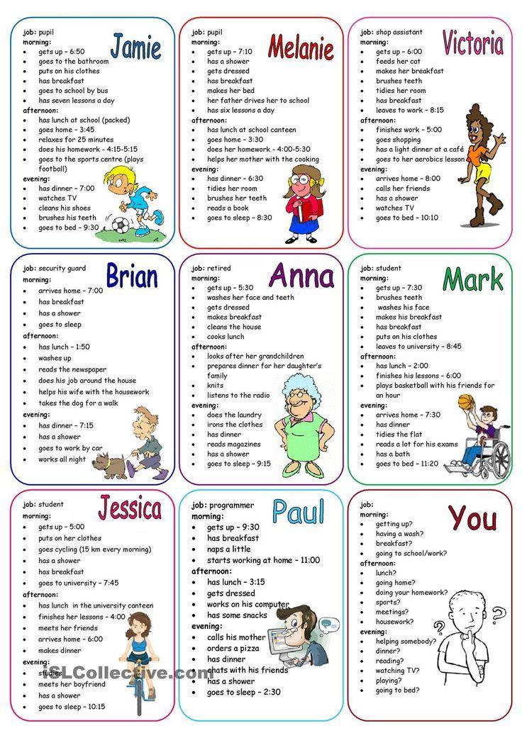 Daily Routines Speaking Cards Aprender Ingls Pinterest