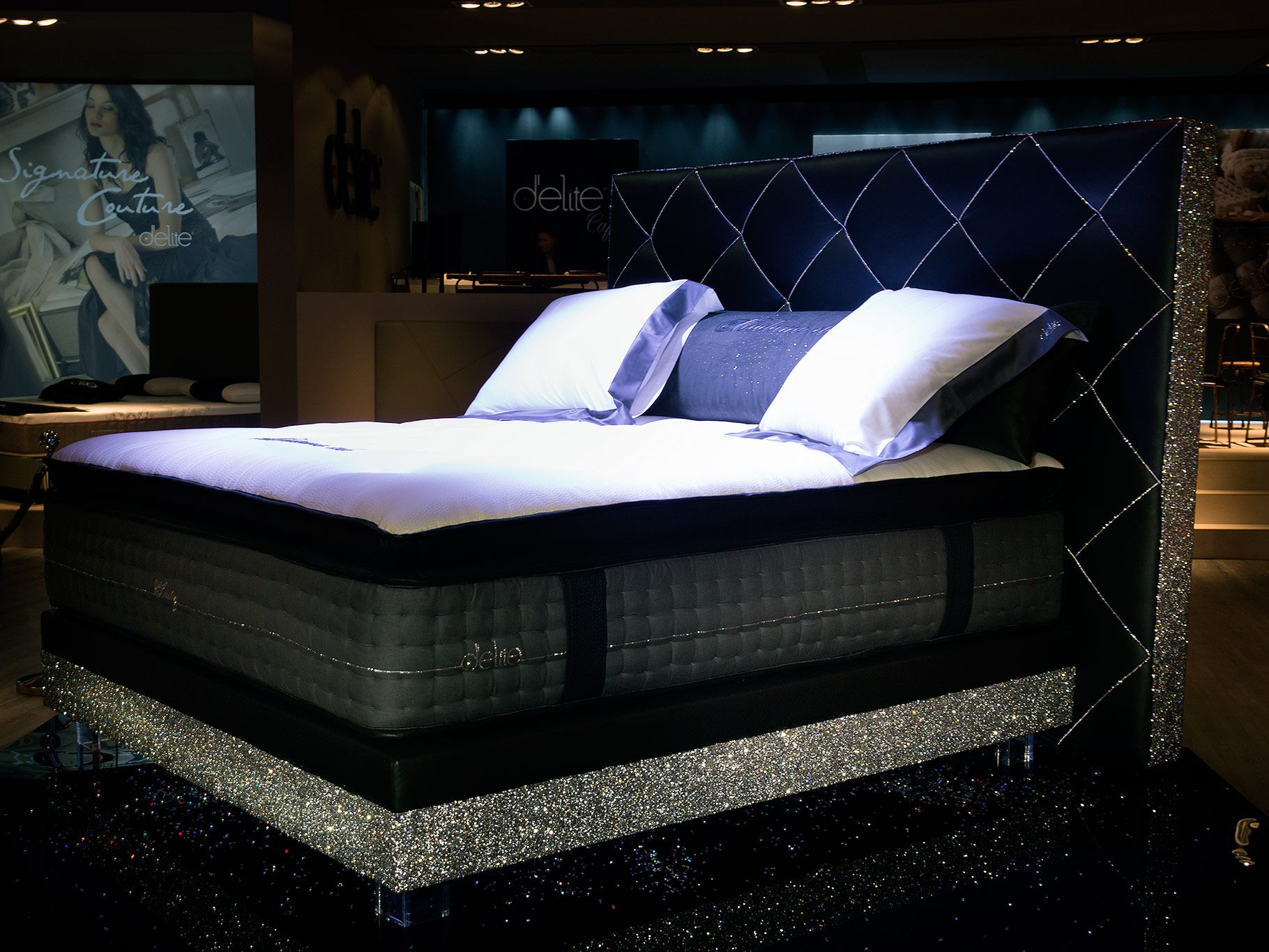 Crystallized Bed Yes Please Tuscan Based High End Time For Bedding Showed Off Its D Elite Brand Which Featured Swarovski Cryst Bed Outdoor Bed Furniture