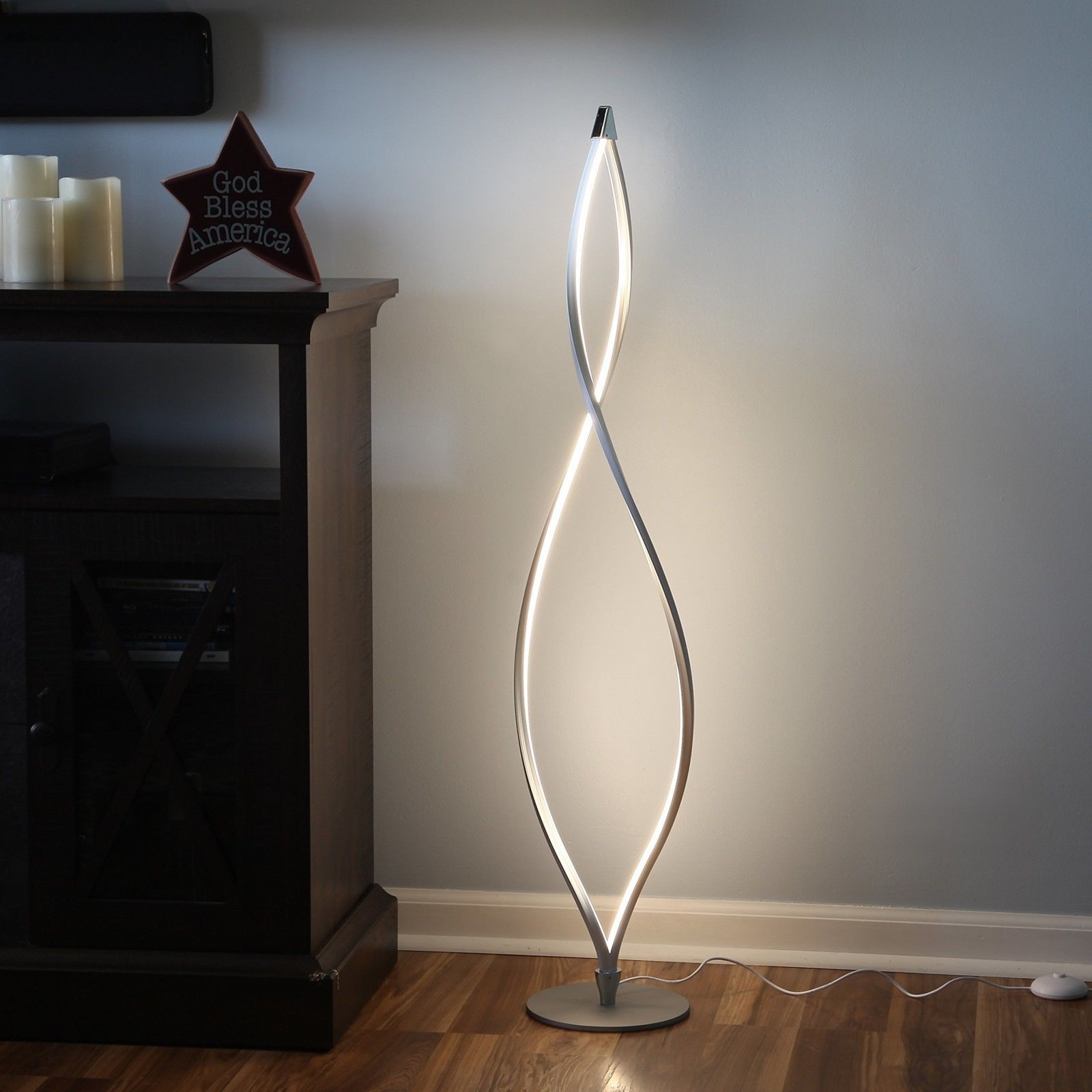Twist Modern Led Floor Lamp Living Room Tall Foot Dimmer Switch