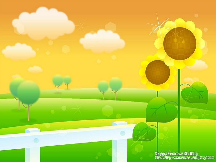 Blissful Summer   Vector Illustraitons Of Summer Scene   Sunflowers And  Field   Vector Summer Scene