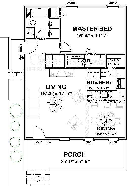 The amelia first floor plan 816 sq ft home tiny for Apartment design process