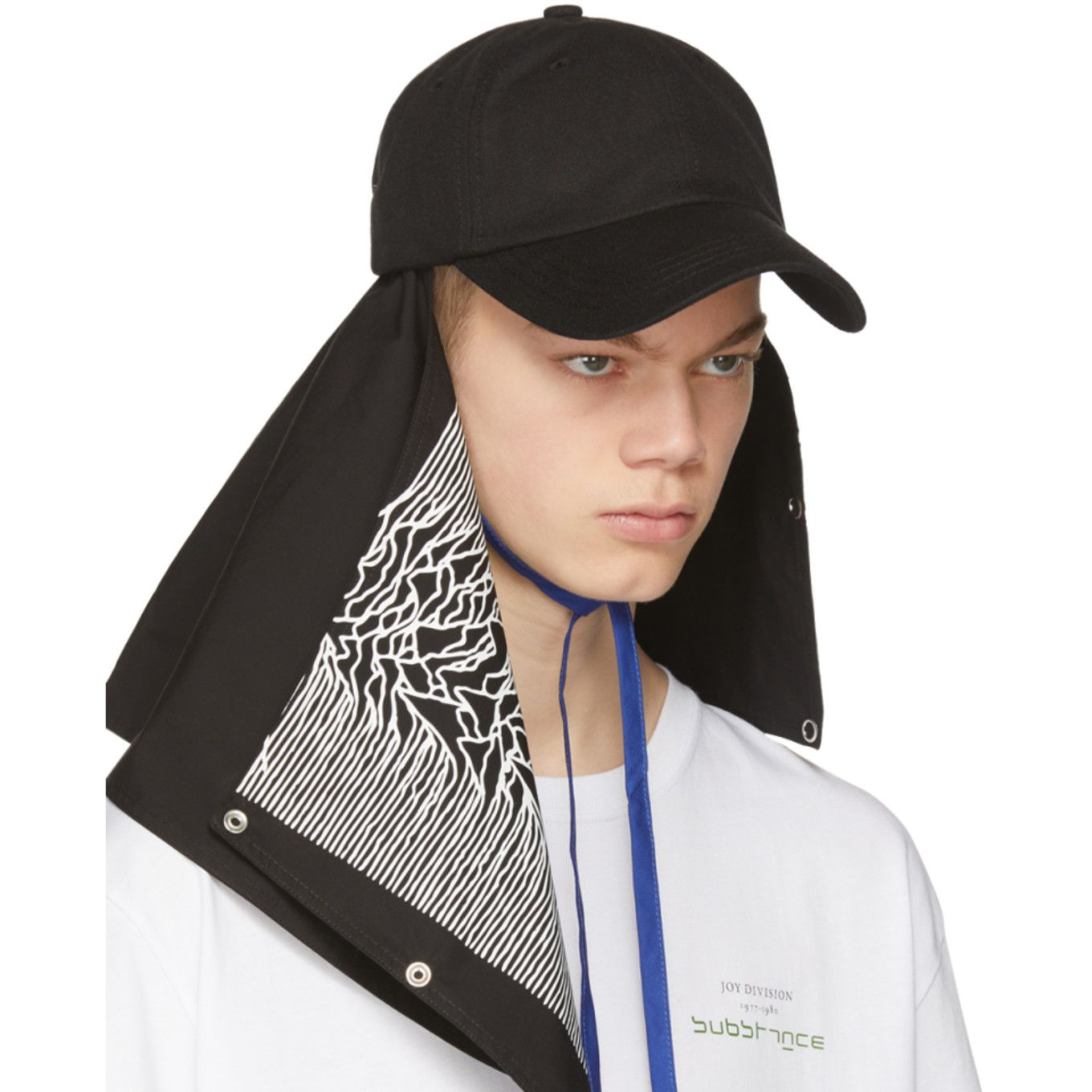 Raf Simons Black Joy Division Unknown Pleasures Substance Baseball Cap Raf Simons Joy Division Unknown Pleasures Men