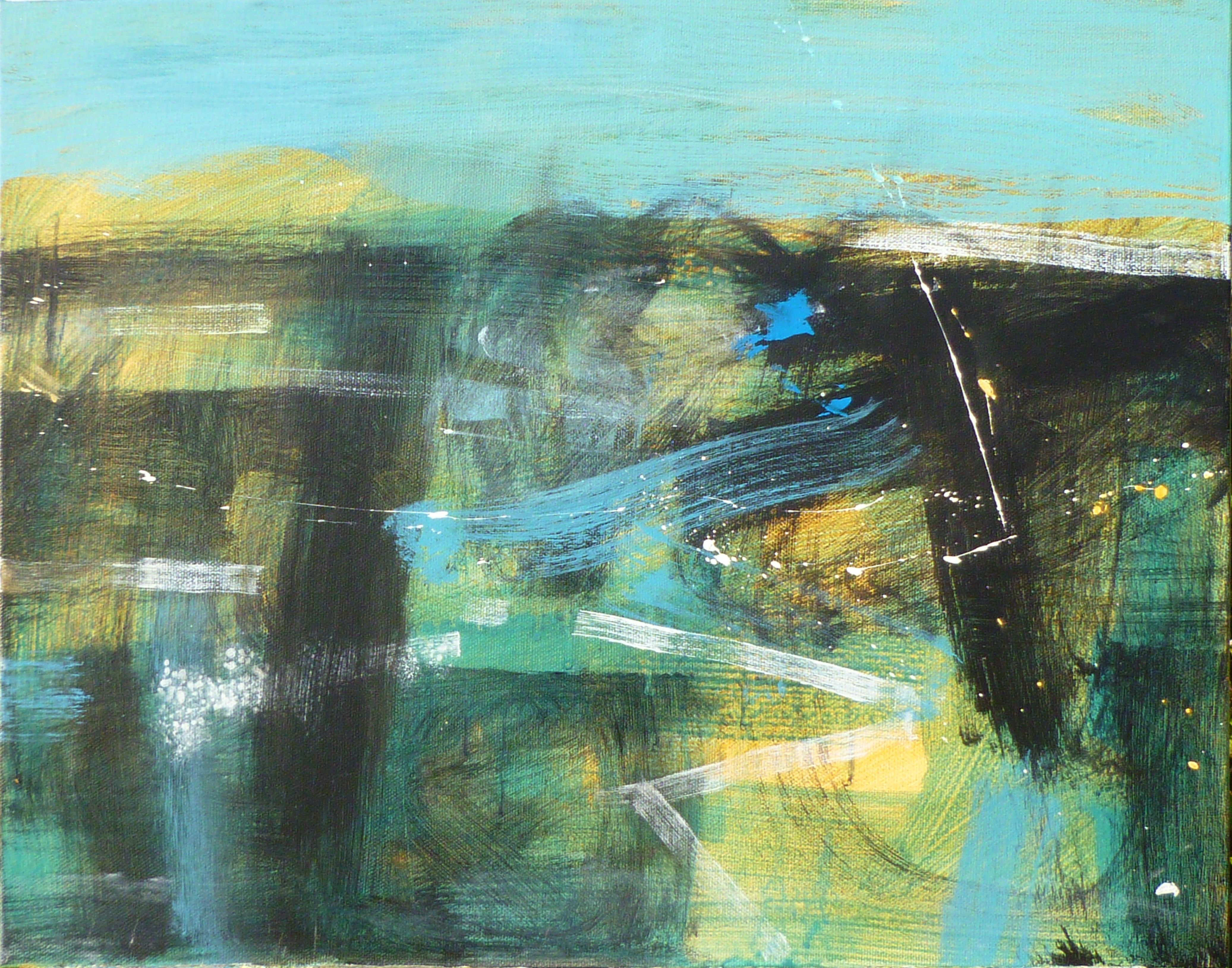 Simon Pooley, A watery place, 40x50cm, mixed media on canvas, £875.